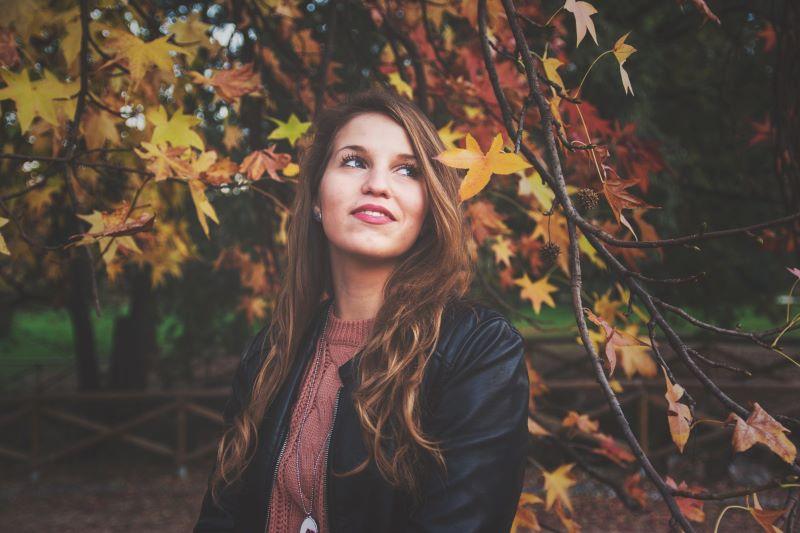 smiling woman autumn